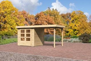 Karibu Gartenhaus Jever 2 mit Anbaudach  2,40 m Breite mit Fußboden und selbstklebender Dachfolie naturbelassen  - Moin Aktion