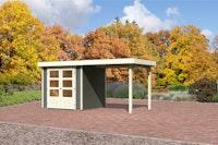 Karibu Gartenhaus Jever 2 mit Anbaudach  2,40 m Breite mit Fußboden und selbstklebender Dachfolie terragrau - Moin Aktion