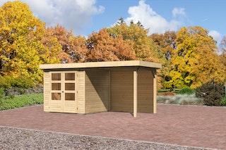 Karibu Gartenhaus Jever 2 mit Anbaudach 2,40 m inkl. Rückwand mit Fußboden und selbstklebender Dachfolie naturbelassen  - Moin Aktion