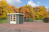 Karibu Gartenhaus Jever 3 mit Fußboden und selbstklebender Dachfolie terragrau - Moin Aktion