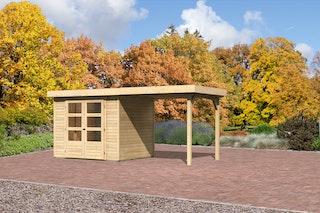Karibu Gartenhaus Jever 3 mit Anbaudach  2,40  m Breite mit Fußboden und selbstklebender Dachfolie naturbelassen  - Moin Aktion