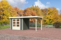 Karibu Gartenhaus Jever 3 mit Anbaudach  2,40  m Breite mit Fußboden und selbstklebender Dachfolie terragrau - Moin Aktion