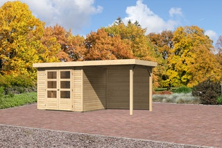 Karibu Gartenhaus Jever 3 mit Anbaudach 2,40 m inkl. Rückwand mit Fußboden und selbstklebender Dachfolie naturbelassen  - Moin Aktion