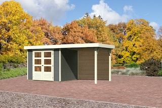 Karibu Gartenhaus Jever 3 mit Anbaudach 2,40 m inkl. Rückwand mit Fußboden und selbstklebender Dachfolie terragrau - Moin Aktion