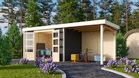 Karibu Gartenhaus Jever 4 mit Anbaudach  2,40 m Breite und 19 mm   terragrau - Moin Aktion