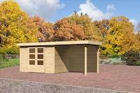 Karibu Gartenhaus Jever 4 mit Anbaudach 2,40 m inkl. Rückwand mit Fußboden naturbelassen  - Moin Aktion