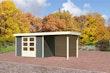 Karibu Gartenhaus Jever 4 mit Anbaudach 2,40 m inkl. Rückwand mit Fußboden terragrau - Moin Aktion