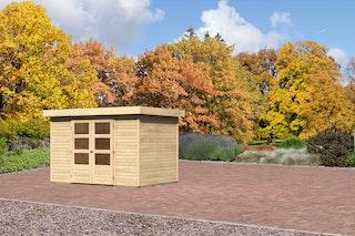 Karibu Gartenhaus Jever 4 mit Fußboden und selbstklebender Dachfolie naturbelassen  - Moin Aktion