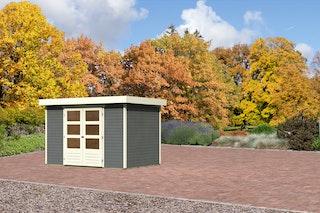 Karibu Gartenhaus Jever 4 mit Fußboden und selbstklebender Dachfolie terragrau - Moin Aktion