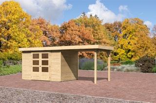 Karibu Gartenhaus Jever 4 mit Anbaudach  2,40  m Breite mit Fußboden und selbstklebender Dachfolie naturbelassen  - Moin Aktion