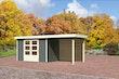 Karibu Gartenhaus Jever 4 mit Anbaudach 2,40 m inkl. Rückwand mit Fußboden und selbstklebender Dachfolie terragrau - Moin Aktion