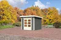 Karibu Gartenhaus Emden 3 mit Fußboden und selbstklebender Dachfolie terragrau - Moin Aktion