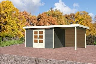 Karibu Gartenhaus Emden 7 Anbaudach mit  2,6 m und Rückwand terragrau - Moin Aktion