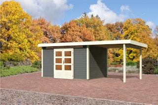 Karibu Gartenhaus Emden 7 Anbaudach  2,6 m Breite mit Fußboden terragrau - Moin Aktion