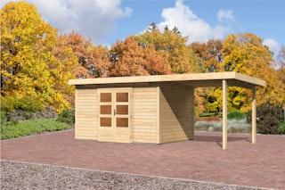 Karibu Gartenhaus Emden 7 Anbaudach  2,6 m Breite mit Fußboden und selbstklebender Dachfolie naturbelassen - Moin Aktion
