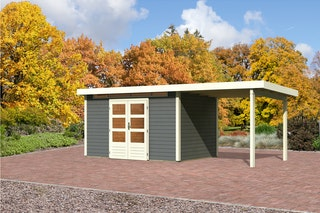 Karibu Gartenhaus Emden 7 Anbaudach  2,6 m Breite mit Fußboden und selbstklebender Dachfolie terragrau - Moin Aktion