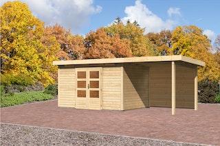 Karibu Gartenhaus Emden 7 Anbaudach mit 2,6 m mit Rückwand mit Fußboden und selbstklebender Dachfolie naturbelassen - Moin Aktion