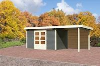 Karibu Gartenhaus Emden 7 Anbaudach mit 2,6 m mit Rückwand mit Fußboden und selbstklebender Dachfolie terragrau - Moin Aktion