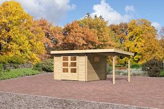 Karibu Gartenhaus  Rastede 3 Anbaudach  2,2 m naturbelassen - Moin Aktion