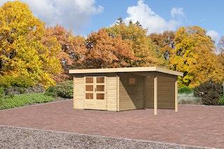 Karibu Gartenhaus  Rastede 3 Anbaudach  2,2 m und Rückwand mit Fußboden naturbelassen - Moin Aktion