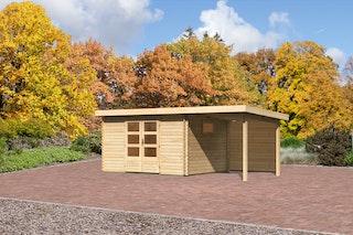 Karibu Gartenhaus  Rastede 4 Anbaudach  2,2 m und Rückwand mit Fußboden und selbstklebender Dachfolie naturbelassen - Moin Aktion