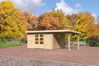 Karibu Gartenhaus  Rastede 5 Anbaudach  2,2 m mit Fußboden und selbstklebender Dachfolie naturbelassen - Moin Aktion