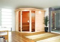 Karibu Sauna Sinai 3 - Massivholzsauna mit Eckeinstieg 40 mm