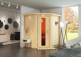 Karibu Sauna Taurin mit Eckeinstieg 68 mm