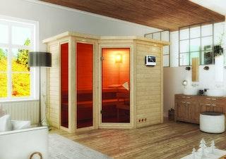 Karibu Sauna Amara-Massivholzsauna 40mm -Eckeinstieg - Exklusivoptik