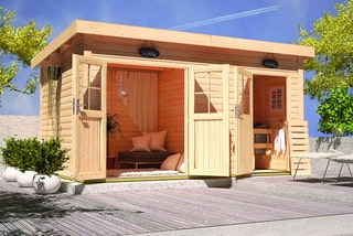Karibu Woodfeeling Gartensauna Niska mit Lounge