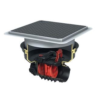 KESSEL - Staufix Control Rückstaudoppelverschluss für Einbau in die Bodenplatte - schwarze Abdeckung mit Rattenschutz