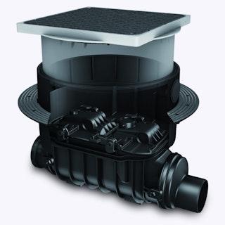 KESSEL 80100S - Grundkörper / Reinigungsrohr Controlfix DN 100 für Bodenplatte - schwarze Abdeckung