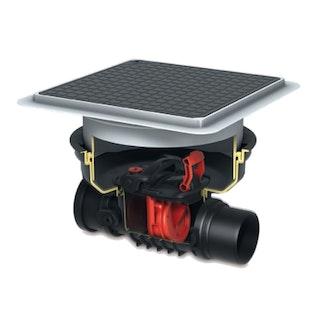 KESSEL - Rückstaueinfachverschluss für Einbau in die Bodenplatte - schwarze Abdeckung