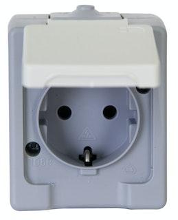 Kopp Schutzkontakt - Steckdose mit Klappdeckel 1-fach