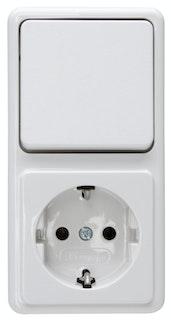Kopp Kombination ( Wechselschalter und Steckdose) arktis-weiss