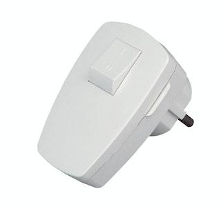Kopp Kunststoff-SCHUKO-Stecker mit Schalter arktis-weiß