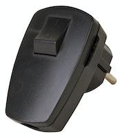 Kopp SCHUKO-Stecker schwarz , mit Wippenschalter