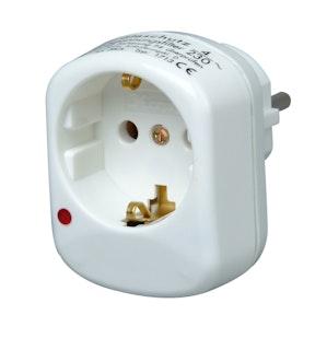 Kopp Schutzkontakt- Zwischenstecker mit Überspannungsschutz, arktis-weiß