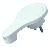 Kopp Kunststoff-Schutzkontakt-Winkelstecker extraflach, arktis-weiß