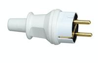 Kopp Schutzkontakt- Stecker mit Knickschutztülle, arktis-weiß