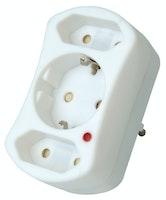 Kopp Europa- und Schutzkontakt-Adapter mit Überspannungsfilter arktis-weiß