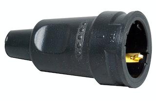 Kopp Schutzkontakt-Gummikupplung mit Knickschutztülle, schwarz