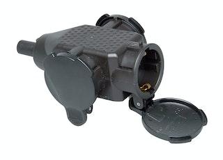Kopp 3-fach Schutzkontakt-Kunststoffkupplung schwarz