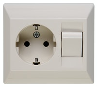 Kopp Schutzkontakt- Steckdose mit Universalschalter, creme-weiß