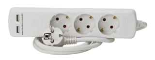 Kopp 3-fach Steckdosenleiste mit 2x USB Port, arktis-weiß