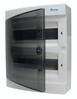 Kopp Aufputz-Verteilerkasten 2-reihig/ 24 Pole, grau/schwarz