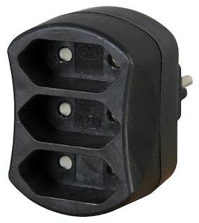 Kopp Steckdosen-3-fach Adapter schwarz