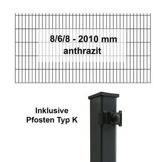 Kraus DS 8/6/8 - 2010 mm anthrazit - Pfosten K - Komplettset 2 - 50 Meter