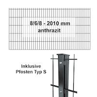 Kraus DS 8/6/8 - 2010 mm anthrazit - Pfosten S - Komplettset 2 - 50 Meter