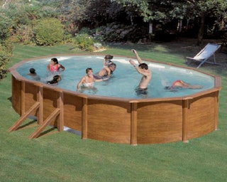 myPOOL Poolset Feeling Wood - Ovalform mit Stahlwandbecken